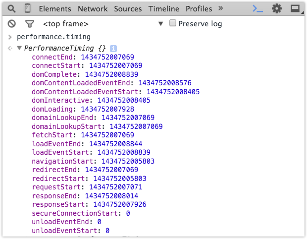 JavaScript timing object
